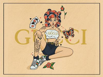 Medusa Pinup Girl sailor jerry snakes medusa gucci tattoo pinup illustration