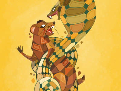 Fight Night muti geometry twist fight vector illustration mongoose snake geometric
