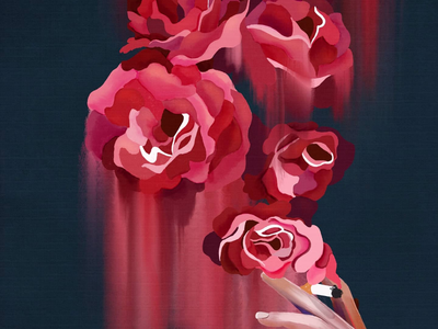 Overwhelmed sad trippy melt canvas paint acrylic painting hand flowers blur blend smoke cigarette stroke roses rose brush