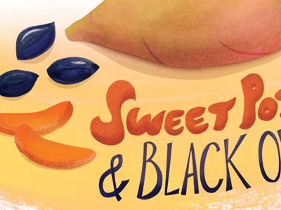 Sweet Potato + Olive Illustration for Vegetarian Times illustration editorial vegetarian times sweet potato olive kalamata typography lettering