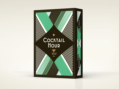 Cocktail Hour Playing Cards Tuck Box foil jade brush art deco packaging cocktail illustration playing cards