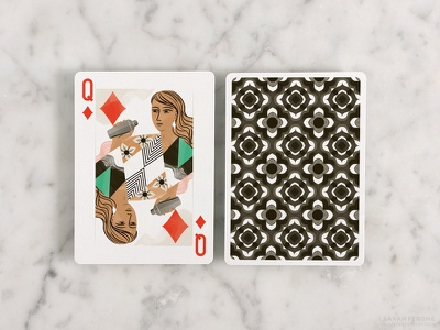 Queen of Diamonds illustration playing cards queen diamonds pattern woman cocktail shaker cocktail hour