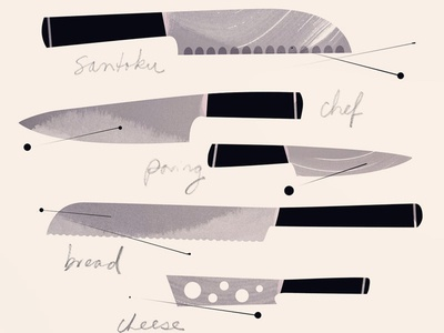 The 100 Day Project - 100 Days of Cookbook Spots knife knives illustration tools food illustration cookbook the100dayproject