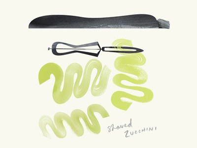The 100 Day Project - 100 Days of Cookbook Spots the100dayproject cookbook food illustration zucchini peeler illustration vegetarian