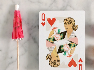 Cocktail Hour Playing Cards KS launch May 18! cocktail hour playing cards illustration kickstarter cocktail food illustration queen of hearts