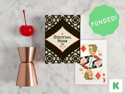 ENDS TONIGHT! games diamonds playing cards illustration kickstarter cocktail pattern king