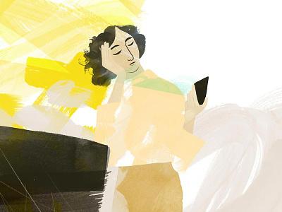 Experiment smart phone phone woman illustration