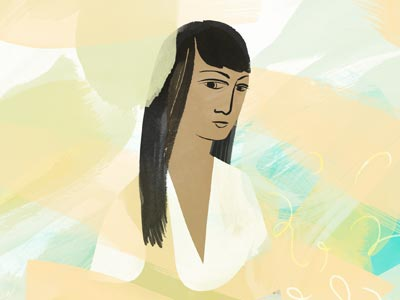 Sketchin' experiment stylized long hair brushstrokes painterly woman
