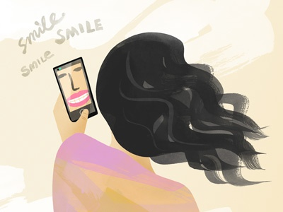 Selfie smile smartphone selfie self portrait illustration