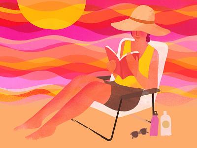 Summer Reading editorial beach book summer reading illustration
