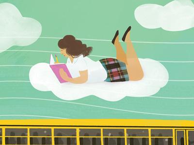 The Last Word escape school bus uniform writing bully school illustration editorial