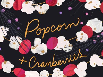 Holiday Illos – Garland food illustration cranberry garland holiday christmas popcorn illustration