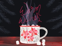 Warm Wishes mug camping wood grain pine tree food illustration cocoa poinsettia hand lettering christmas holiday