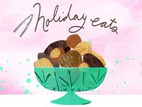 Mixed Nuts food illustration christmas holiday depression glass almond walnut hazelnut