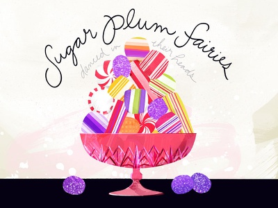 Candy Bowl hand lettering confectionery peppermint depression glass food illustration candy sugar plum