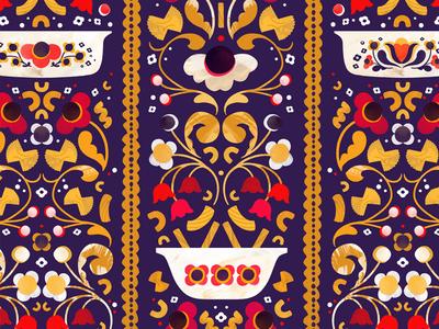 Vintage Kitchen Bolt Fabric vintage folk pasta pyrex food illustration surface design pattern illustration makeartthatsells