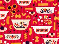 Vintage Kitchen Bolt Fabric – Coordinate vintage folk pasta pyrex food illustration surface design pattern illustration makeartthatsells