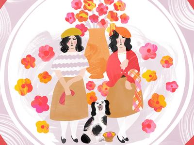 Home Decor - Spring Fling Plates vintage folk painterly plate staffordshire surface design pattern illustration makeartthatsells