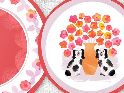 Home Decor - Spring Fling Plates vintage folk painterly botany floral dinnerware food illustration surface design pattern illustration makeartthatsells