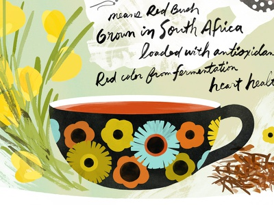 Rooibos Tea - detail handlettering illustration botanical tea cup makeartthatsells rooibos