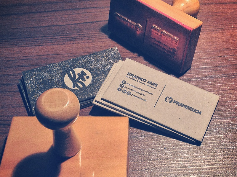 new business cards! frametouch handmade stamp ink raw typography design