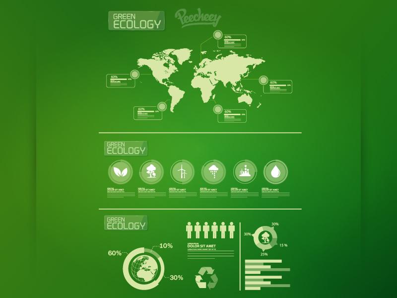 Ecology infographic elements ecology nature vector free world adobe