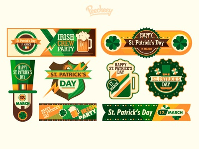 St. Patrick's day banners and stickers