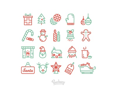 Christmas line Icons lines icons holiday free vector vector new year christmas
