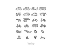 Vehicle and transportation icons
