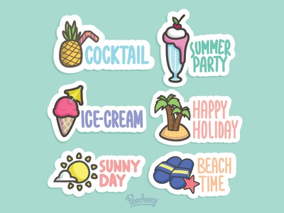 Peecheey Summer Stickers  adobe free vector vector stickers sale summer