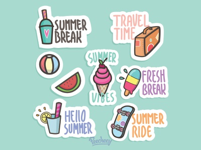 Summer Stickers again adobe free vector vector stickers summer
