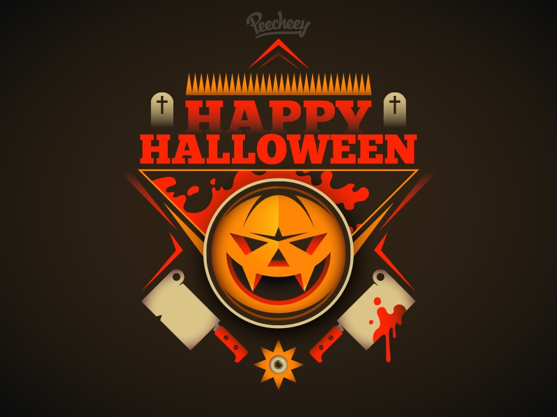 Happy Halloween free vector vector night poster scary halloween