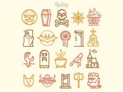 Halloween Icons spooky scary line design free vector icons halloween