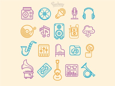 Music Icons line design free vector icons music
