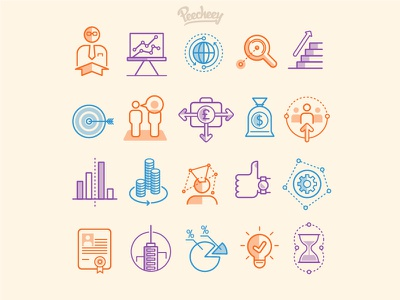 Strategy icon set free vector line design business icons strategy
