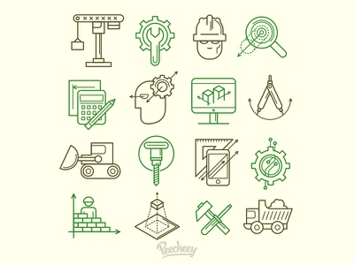 Engineering Icons line design vector free vector set icon engineering construction