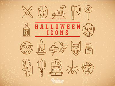 Halloween icons halloween party illustration vector free vector illustrator icon design icons