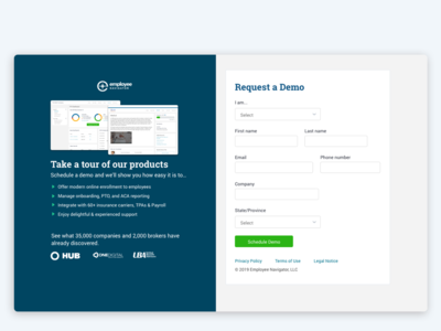 Request Demo landing page