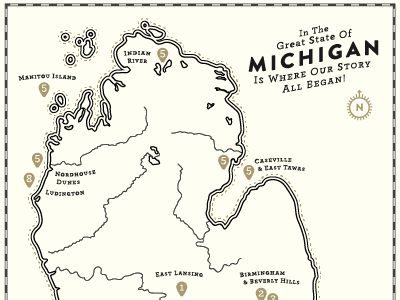 Marriage in the Mighty Mitten invitation greatlakes michigan map wedding