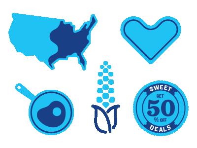 In process icon / widgets blue heart usa pan corn widgets icons