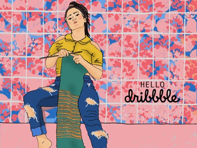 HELLO DRIBBBLE photoshop hello knitting hellodribbble photoshop art design illustration