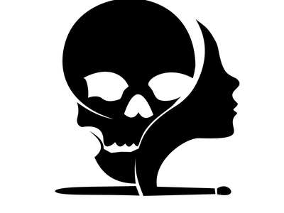 Skull With A Lady illustrator icon branding vector design logo illustration