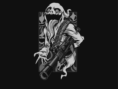 Remake of haunted ghost fire Halloween black white illustration art graphic design vector illustrator design illustration