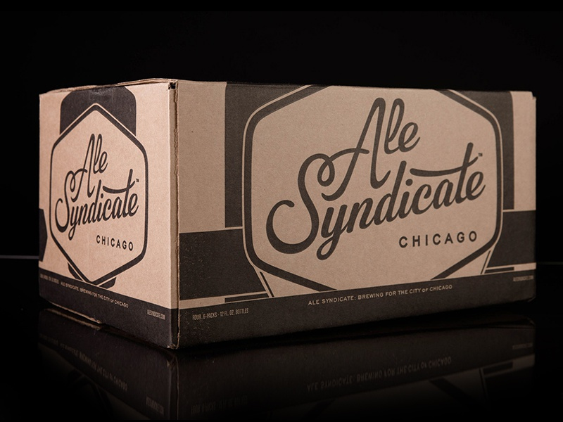 Ale Syndicate Case craft beer box packaging case black and white kraft chicago script
