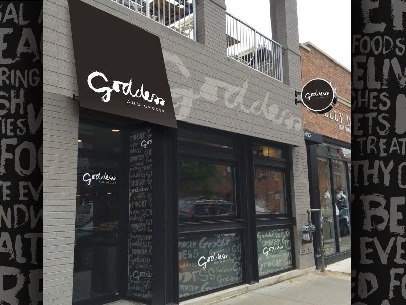 Goddess   Grocer Facade storefront facade awning vinyl blade sign hand drawn typography