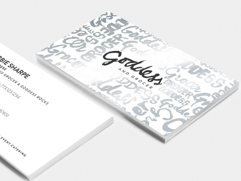 Goddess and Grocer Business Cards business cards foil black and white hand type