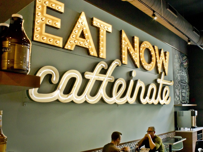 Goddess and the Baker: Eat Now Caffeinate Neon  wall cafe coffee lightbulb script signage sign retro neon