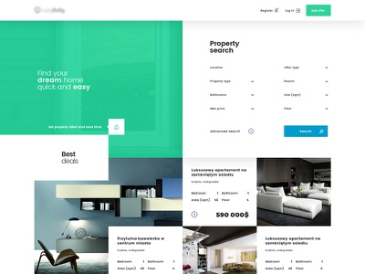 Property grid responsive frontpage homepage webdesign