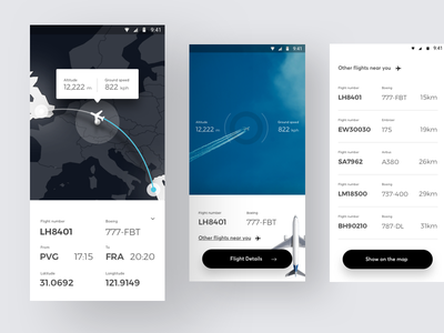 Flight spotter App aircraft flight interface phone android mobile app design ux ui