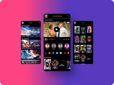 TVHub  Entertainment App for TV & Mobile tv shows following mobile design mobile ui mobile app design gamers entertainment entertainment app social media design tv app mobile app